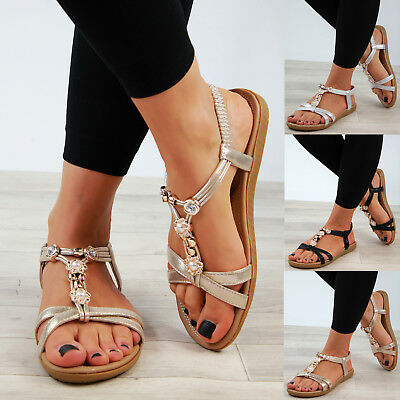 0b2096566 New Womens Low Heel Sandals Embellished Slingback Comfy Holiday Shoes Sizes  3-8