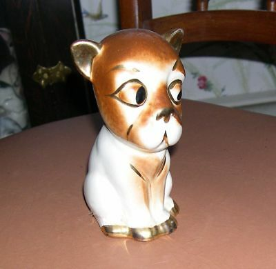 French Bulldog Figure Vintage Caricature Seated Dog with Gold accent Paint