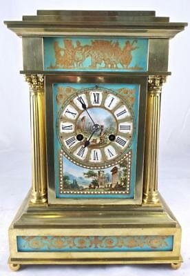 Superb Antique French 19thc Brass & Aqua Sevres Mantle Clock by Archilles Brocot