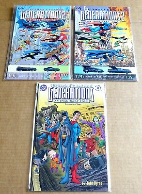 "3 DC NEW ""SUPERMAN & BATMAN GENERATIONS"" GRAPHIC NOVELS; 1 & 2 of 4 & TWO of 4"