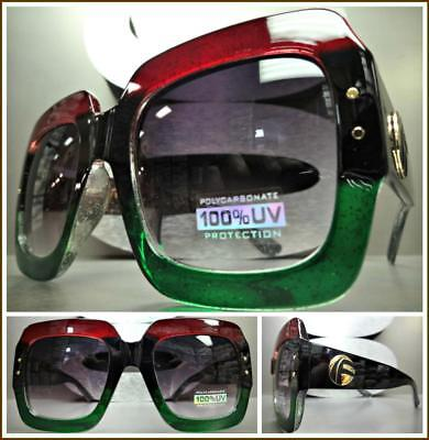 OVERSIZED VINTAGE Classy RETRO Style SUN GLASSES Square Black Green & Red Frame