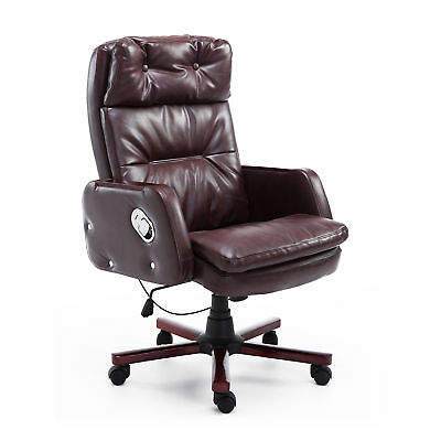 Computer Office Chair Recliner PU Leather Adjustable Armrest Brown