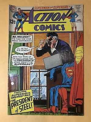 Action Comics No.371 1969 President Of Steel Superman And Supergirl