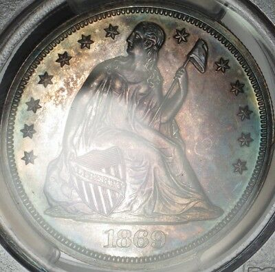 1869 Choice Proof Details Seated Liberty Silver Dollar - PCGS PR Gen UNC Details