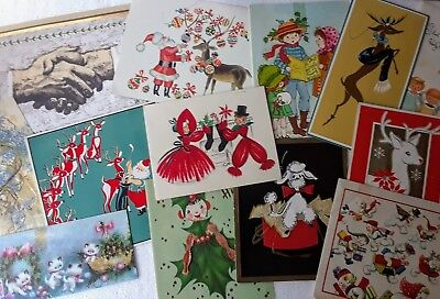 Lot 30 Vintage Mid Century Modern MCM Christmas Cards Damaged for Crafts