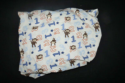 Cocalo Monkey Mania Beige Blue Numbers Stars Fitted Crib Sheet 100% Cotton