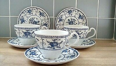 Johnson Brothers Indies Blue & White Cups & Saucers  - VGC