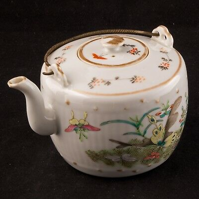 Chinese overglaze enamel and transfer porcelain teapot c 1910