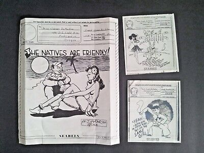 Original Unsent V MAIL WWII Seabees The Natives Are Friendly & 2 Other Cartoons