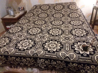 Antique Jacquard loom  coverlet. Loomed in Iowa 1844. Excellent condition.Indigo