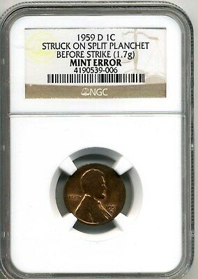 Mint Error 1959-D Lincoln Cent  Struck On Split Planchet 1.7G Ngc