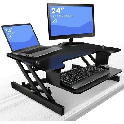 Sit To Stand Monitor Riser Desk Height Adjustable Standing Desk with Keyboard Tr