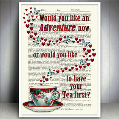 Tea Adventure Quote Art Print Dictionary Style Wall Art Heart Butterfly Picture