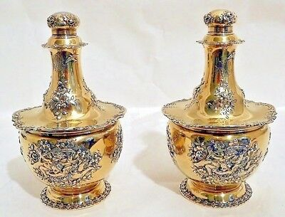 A magnificent pair of sterling perfume bottles, Tiffany & Co., NY c.1891-1902