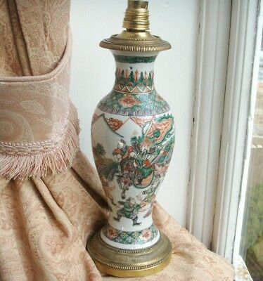 Antique Chinese Famille Verte Porcelain Vase French Ormolu Mount Electric Lamp