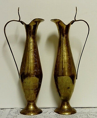 Antique / Vintage, Pair Of Indian Brass Hand Etched Vase Ewers, Good Condition