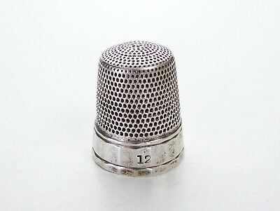Vintage Antique Sterling Silver Sewing Thimble Stamped 12 Trinket