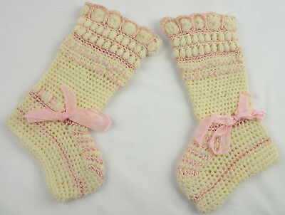 Vintage Knitted Baby Stockings Booties Socks Pink and Cream Ribbons