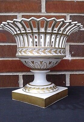 NO RESERVE- French Porcelain Old Paris Reticulated Empire Compote White & Gold