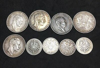 Lot Of 9 German Antique Coins 5-3 Mark 1908-1911 + 4-1 Mark 1902-1904