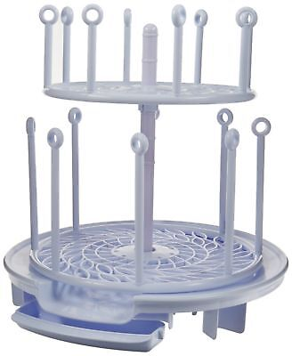 The First Years Spin Stack 2 Level Drying Rack White Up to 16 Bottles NEW