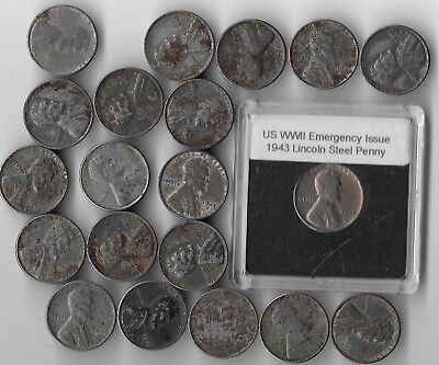 Rare Old WWII US Lincoln Emergency Issue Steel 20 Coin Collection WW2 War Lot