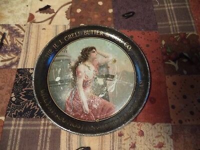 Nice Old Antique H. J. Grell Butter & Egg Co. Advertising Metal Tip Tray  Sign