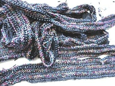 """Old Glass Bead Tulle Trim 2"""" x 5 yrd+ Use/Repair Pink Green Mauve Black Blue"""