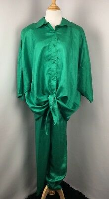Emerald Green Tie Front Polyester 2Pc Vintage Lounge Track Suit 80s Sz 24W PLUS
