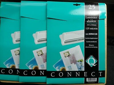3 x A4 Laminating Pouches (25 per pack) ~ 125 Micron ~ 75 in total ~ (NEW)