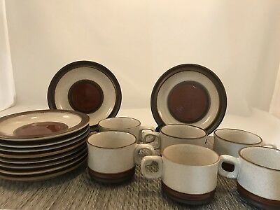 DENBY POTTER'S WHEEL RUST RED Plates Cups 16pc LOT Discontinued 1987