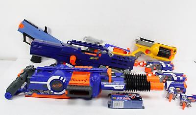 Nerf  Lot Of 9 Dart Blaster Rhino-Fire Elite Motorized Longshot Cs-6 Rival Darts