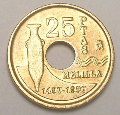 1997 Spain Spanish 25 Pesetas Melilla Amphora Coin VF+