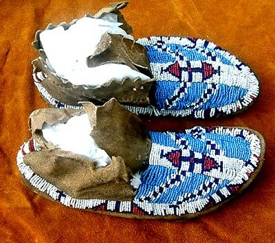 """Vintage Antique 1880's Sioux Native Indian Artifact 9.5"""" Beaded Moccasins"""