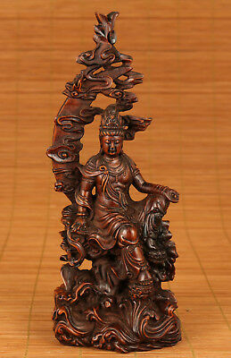 good Chinese Old Boxwood Handmade Carved Moon Kwan-yin Statue Decoration