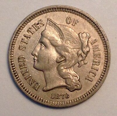1873 Three Cent Nickel AU, About Uncirculated. Closed 3 variety. Nice Luster.