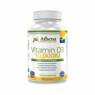 Athena - Vitamin D3 10,000IU High Strength - 90 Softgels Capsules - Supports ...