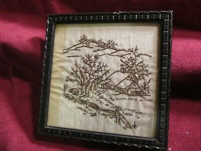 Vintage Hand Embroidered Scenic Picture - Framed