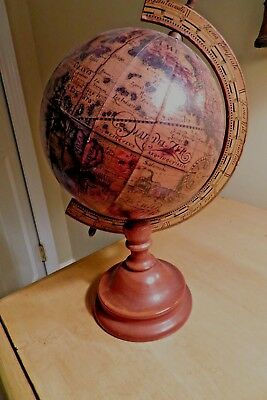 vintage OLD WORLD MIDDLE AGES GLOBE on stand 12 in. high NR