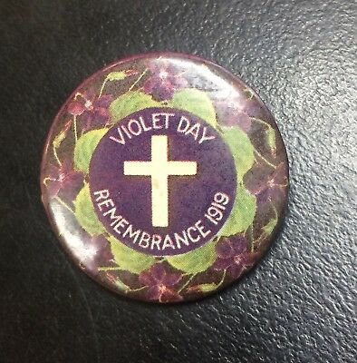 WW1 Violet Day Remembrance 1919 Button Badge