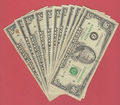FEDERAL RESERVE FIFTY DOLLAR BILLS..OLD CURRENCY..SMALL HEADS..$50...1980's