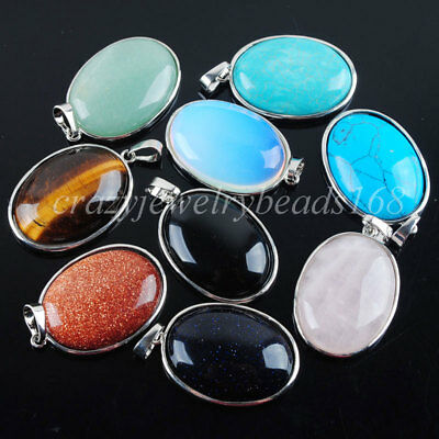 Natural Stone Oval Silver Plated Healing Reiki Chakra Pendant Bead 1PCS BN319