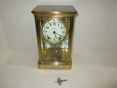 Antique Seth Thomas Crystal Regulator Clock Made In Usa 8 Day, Time And Strike