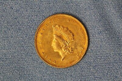 1855 U.S. Type 2 $1 Indian Princess Head One Dollar Gold Coin in AU Condition NR