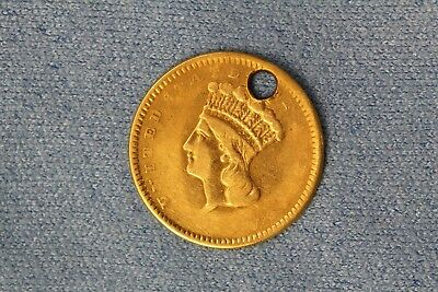 1856 U.S. Type 2 $1 Indian Princess Head One Dollar Gold Coin Drilled Hole NR