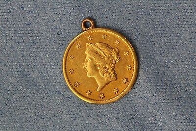 1840-1907 U.S. Liberty Head One Dollar $1 Gold Coin Pendant Engraved Back NR!