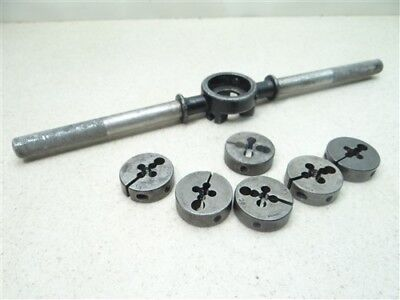 """Lot Of 6 Hss Round Dies 1-1/2"""" Od 1/4""""-20Nc To 5/16""""-18Nc W/ Wrench Winter Gtd"""