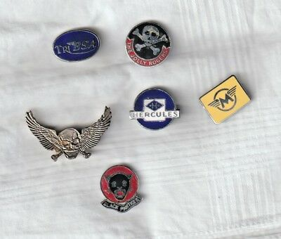 MIXED LOT OF SIX MOTOR CYCLE CLUB BADGES. BLACK PANTHER, HERCULES, TRI-BSA etc.