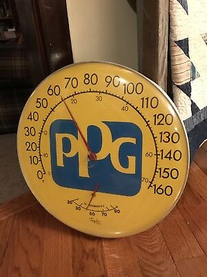 """Vintage Original PPG Paints Advertising Thermometer w/Humidity Nice 18"""" Round"""