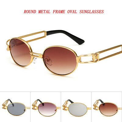 New Retro Vintage Steampunk Metal Frame Sunglasses Fashion Oval Mirrored Glasses